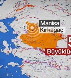 Manisa'da 5,2 büyüklüğünde bir deprem meydana geldi.