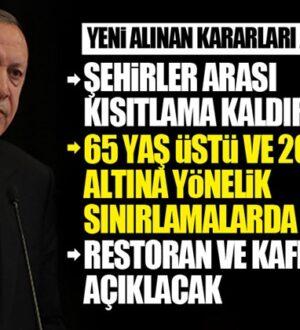 Başkan Erdoğan yeni kararları açıkladı! Kısıtlamaların çoğu kaldırıldı