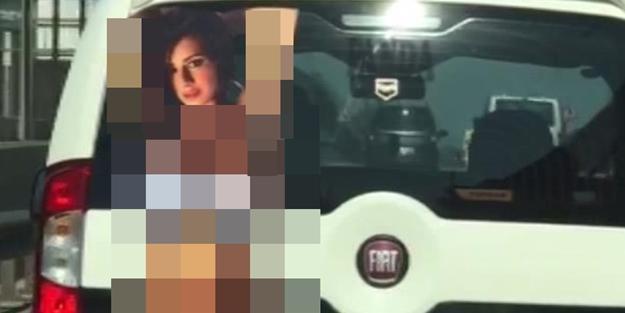 Bursa'da aracına çıplak kadın afişi yapıştıran şahıs gözaltına alındı.
