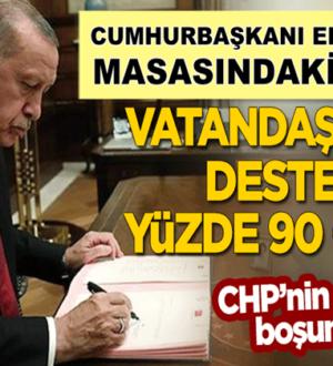 Erdoğan'ın masasındaki anket: Vatandaşın desteği yüzde 90 oldu!