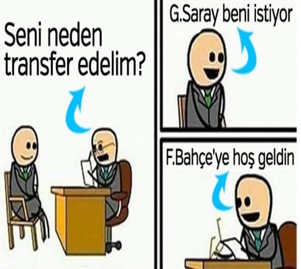 Öte yandan sarı-kırmızılı taraftarlar, sürekli olarak Galatasaray'ın ilgilendiği futbolcuları transfer eden Fenerbahçe'yle ilgili komik bir capse imza attı.