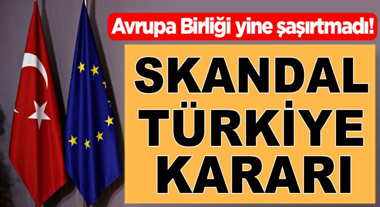 Avrupa Birliğinden bir skandal Türkiye kararı daha!