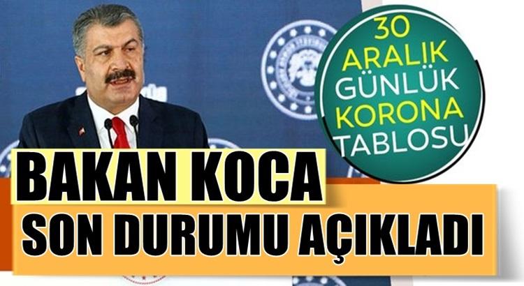 Koronavirüs 30 Aralık Türkiye verilerini sağlık Bakanı Fahrettin Koca duyurdu