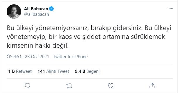 """FETÖ'cü Uslu twitter hesabından bu paylaşımı yaparken DEVA Partisi Genel Başkanı Ali Babacan da eş zamanlı olarak bir mesaj paylaştı. Babacan,""""Bu ülkeyi yönetemiyorsanız, bırakıp gidersiniz. Bu ülkeyi yönetemeyip, bir kaos ve şiddet ortamına sürüklemek kimsenin hakkı değil.""""dedi."""