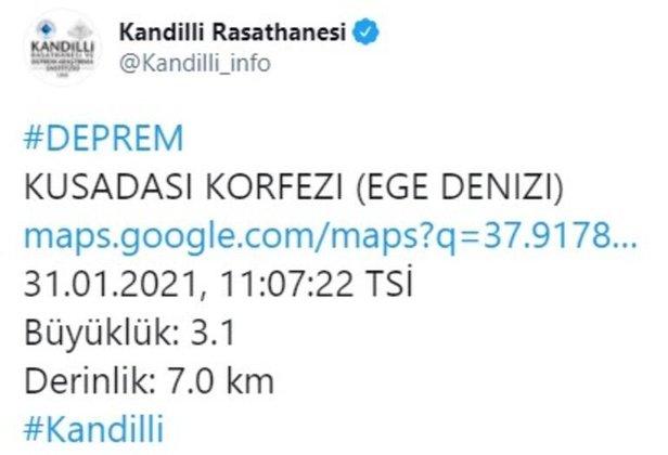 Kandilli Rasathanesi'nden yapılan açıklamada, depremin Kuşadası Körfezi açıklarında meydana geldiği büyüklüğünün ise 3.1 olarak olduğu duyuruldu. Saat 11.07'de meydana gelen depremin derinliği ise 7.0 km. olarak açıklandı.