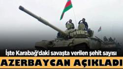Azerbaycan'ın Dağlık Karabağ'daki savaşta verilen şehit sayısı