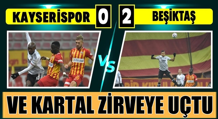 Beşiktaş Kayserispor'u deplasmanda 2 golle geçerek liderliğe yerleşti