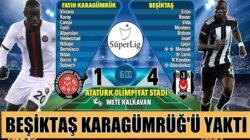 Beşiktaş süper lig'de Fatih Karagümrüğ'ü yaktı geçti