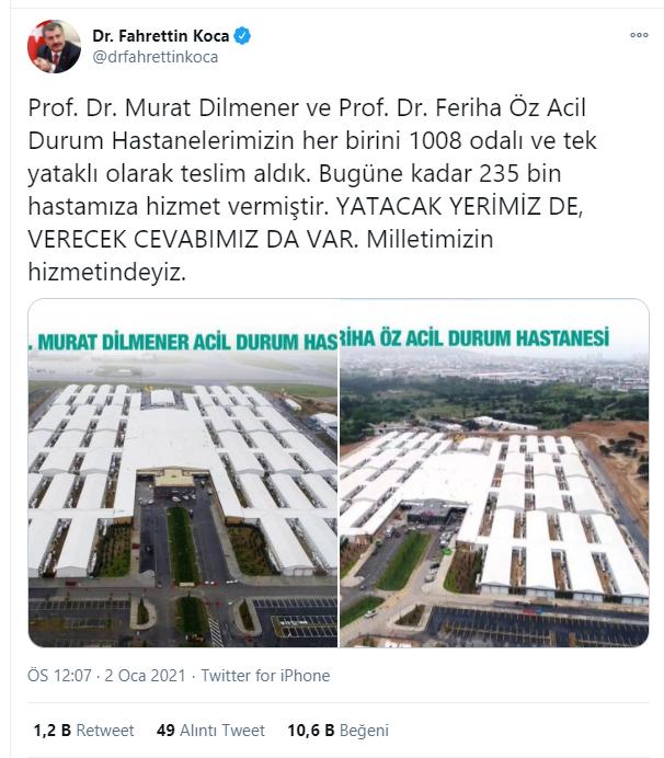 """Bakan Koca iddialara twitter hesabından yaptığı açıklama ile cevap verdi. Bakan Koca,""""Prof. Dr. Murat Dilmener ve Prof. Dr. Feriha Öz Acil Durum Hastanelerimizin her birini 1008 odalı ve tek yataklı olarak teslim aldık. Bugüne kadar 235 bin hastamıza hizmet vermiştir. Yatacak yerimiz de verecek cevabımız da var. Milletimizin hizmetindeyiz.""""dedi."""