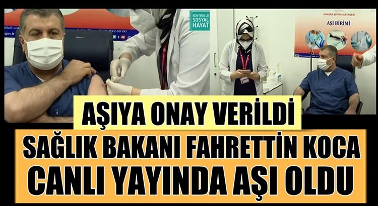 Fahrettin Koca, Türkiye'de koronavirüs aşısı yaptıran ilk kişi oldu