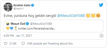 """Cumhurbaşkanlığı Sözcüsü İbrahim Kalın, Mesut Özil'in Fenerbahçe tweet'ini alıntılayarak, """"Evine, yurduna hoş geldin sevgili Mesut Özil"""" mesajını yazdı."""
