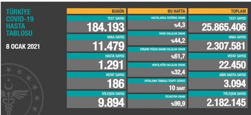 Toplam test sayısı 25 milyon865bin406'ya ulaşırken; vaka sayısı 2 milyon 307bin581, vefat sayısı 22 bin450, ağır hasta sayısı 3 bin94oldu.