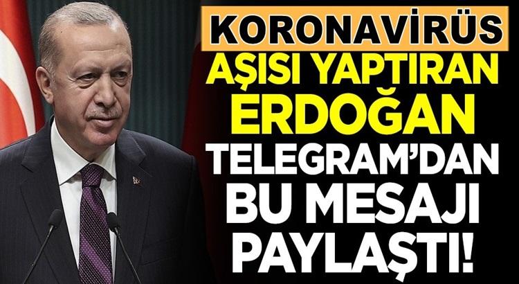 Koronavirüs Aşısı Olan Erdoğan Telegramdan bu mesajı paylaştı