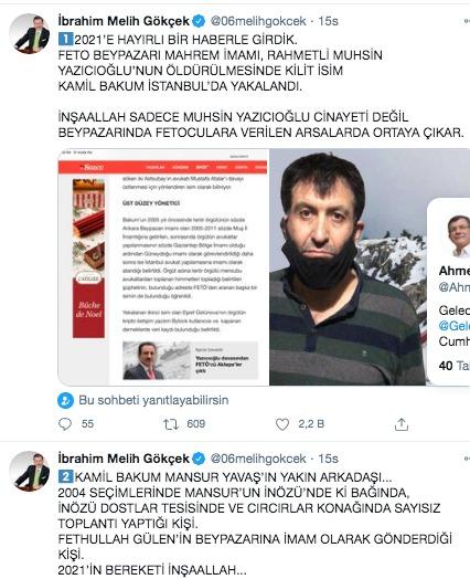 FETÖ imamı Bakum'ın yakalanması sonrası Twitter hesabından açıklamalarda bulunan Melih Gökçek,CHP'li Ankara Büyükşehir Belediye Başkanı Mansur Yavaş'la ilgili dikkat çeken bir iddiada bulundu. Gökçek, FETÖ'cü Kamil Bakum'la CHP'li Mansur Yavaş'ın yakın arkadaş olduğunu, 2004 seçimlerinde Mansur Yavaş'ın İnözü'ndeki bağında sayısız toplantılar yapan kişi olduğunu söyledi. Gökçek, ayrıca Bakum'un bizzat FETÖ elebaşı Fetullah Gülen tarafından Ankara'nın Beypazarı ilçesine imam olarak gönderildiğini belirtti.