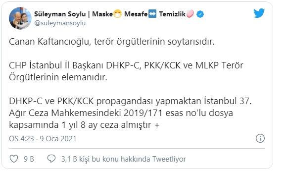 """""""Canan Kaftancıoğlu, terör örgütlerinin soytarısıdır. CHP İstanbul İl Başkanı DHKP-C, PKK/KCK ve MLKP terör örgütlerinin elemanıdır. DHKP-C ve PKK/KCK propagandası yapmaktan İstanbul 37. Ağır Ceza Mahkemesindeki 2019/171 esas nolu dosya kapsamında 1 yıl 8 ay ceza almıştır.MLKP'nin sözde kurucu liderlerinden Hasan Ocak, PKK'nın kurucularından Sakine Cansız, DHKP-C'li Ebru Timtik, sözde liderleştirdiği teröristlerden sadece birkaçıdır."""""""