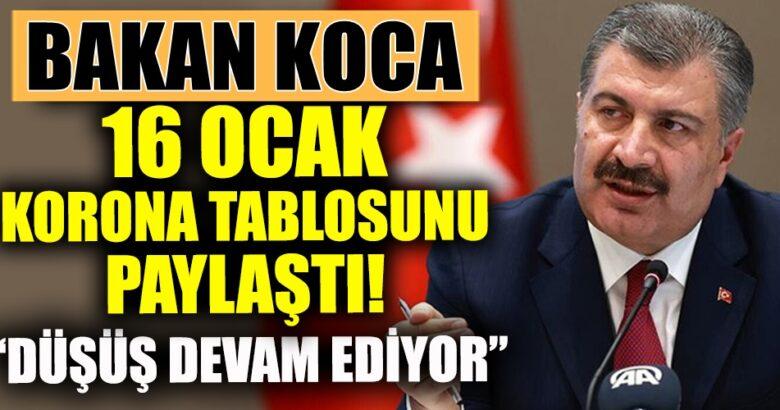 Türkiye Koronavirüs 16 ocak tablosunu Bakan Fahrettin Koca açıkladı