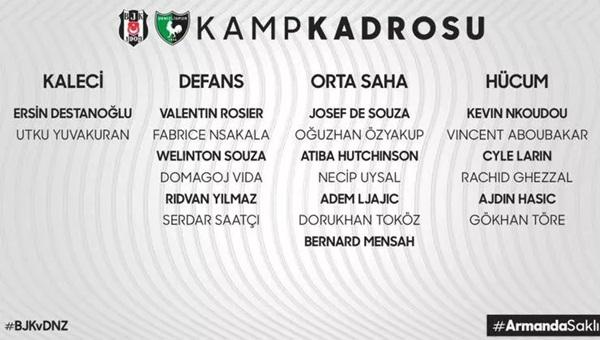 Sergen Yalçın yönetimindeki Beşiktaş'ın kamp kadrosu açıklanırken sakatlığı sebebi ile durumu belli olmayan Rachid Ghezzal listede yer aldı. Gençlerbirliği maçında iki gol atan yeni transfer Cenk Tosun ise ödem problemi nedeniyle kadroda yer almadı.