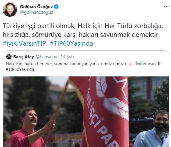 """CHP'ye yakınlığı ile bilinen ve Ekrem İmamoğlu'nun İstanbul Büyükşehir Belediyesi Başkanlığına gelmesi sonrası konserleri kapıp cebini dolduran Gökhan Özoğuz, CHP'ye yakınlığı ile bilinen Gökhan Özoğuz, HDP listesinden seçime girip vekil olan ve daha sonra TİP'e geçen ve evli olmasına rağmen başka evli kadınlarla bir gecede binlerce lira ezen Barış Atay gibi komünistlere övgüler dizdi. Twitter hesabından paylaşımda bulunan Özoğuz, Barış Atay'ın Türkiye İşçi Partisi'ni övdüğü paylaşımını """"Türkiye İşçi partili olmak; Halk için Her Türlü zorbalığa, hırsızlığa, sömürüye karşı hakları savunmak demekti"""" notuyla retweetledi. Şekilden şekle giren Özoğuz'un son olarak komünistlere övgüler düzmesi şaşkınlığa neden olmadı."""