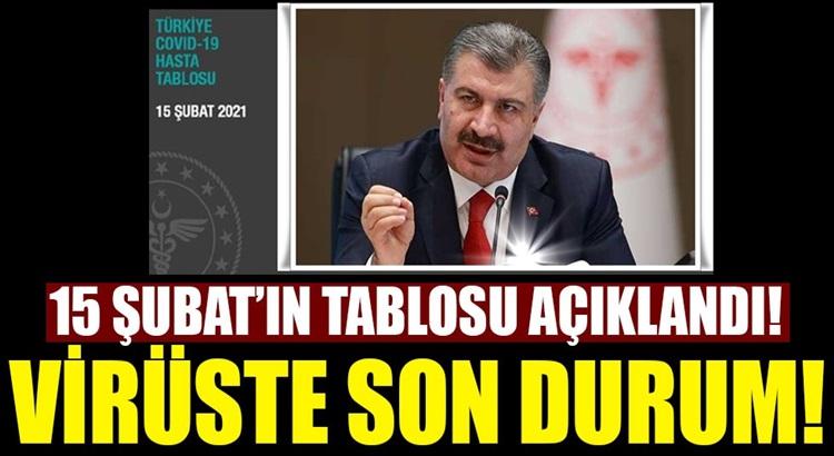 Türkiye 15 Şubat Koronavirüs tablosunu sağlık bakanlığı açıkladı