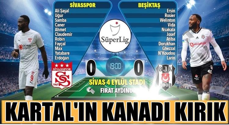 Beşiktaş Sivasspor deplasmanında hayati derecede 2 puan bıraktı