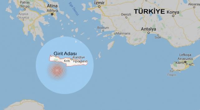 Ege'de Girit Adası açıklarında 4.7 büyüklüğünde deprem meydana geldi