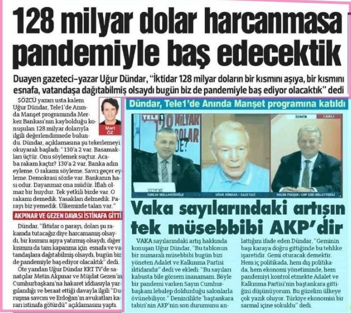 """Dün CHP İstanbul İl Başkanı Canan Kaftancıoğlu'nun, Suriyeli göçmen Aylan bebeğin cansız bedeni üzerine yazdığı """"128 milyar dolar nerede?"""" yazısının ardından bu kez de """"duayen yalancı"""" Uğur Dündarkoronavirüs nedeniyle hayatını kaybeden vatandaşlar üzerinden aynı yalanı sürdürdü."""