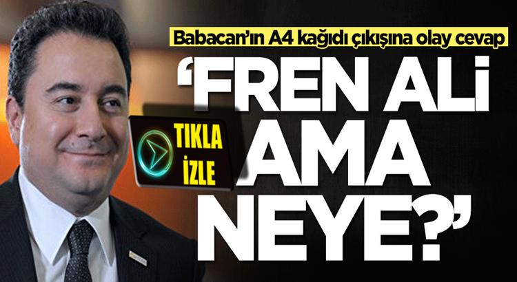 Bakan Mustafa Varank'tan Ali Babacan'ın Fren Ali çıkışına olay yanıt
