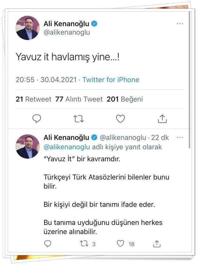 Ali Kenanoğlu, kamuoyundan gelen tepkiler üzerine yeni paylaşımda bulundu ve ''Yavuz İt' bir kavramdır. Türkçeyi Türk Atasözlerini bilenler bunu bilir. Bir kişiyi değil bir tanımı ifade eder. Bu tanıma uyduğunu düşünen herkes üzerine alınabilir' iddiasında bulundu.