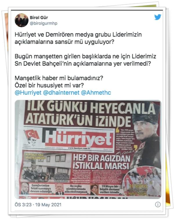 """""""Hürriyet ve Demirören medya grubu Liderimizin açıklamalarına sansür mü uyguluyor?"""