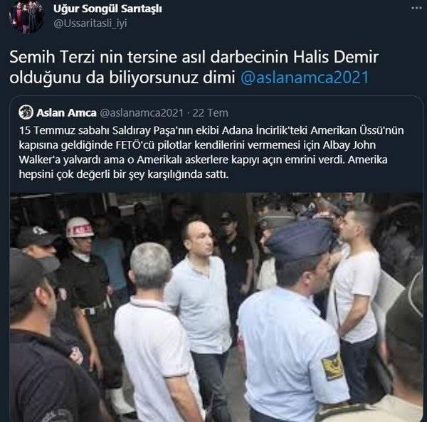 """İYİ Partili Songül Sarıtaşlı attığı tweette, """"Semih Terzi'nin tersine asıl darbecinin Ömer Halisdemir olduğunu da biliyorsunuz di mi?"""" yazdı."""